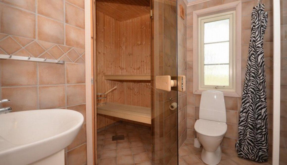 Bad med dusj, wc, servant på innredning og badstue